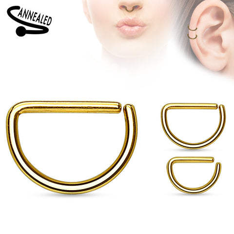 Gold Annealed D shaped Ring, Hoop Piercing