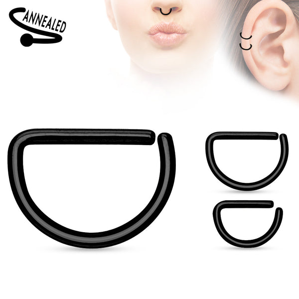 Black Annealed D shaped Ring, Hoop Piercing