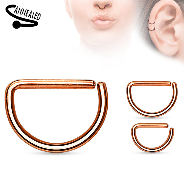 Rose Gold Annealed D shaped Ring, Hoop Piercing
