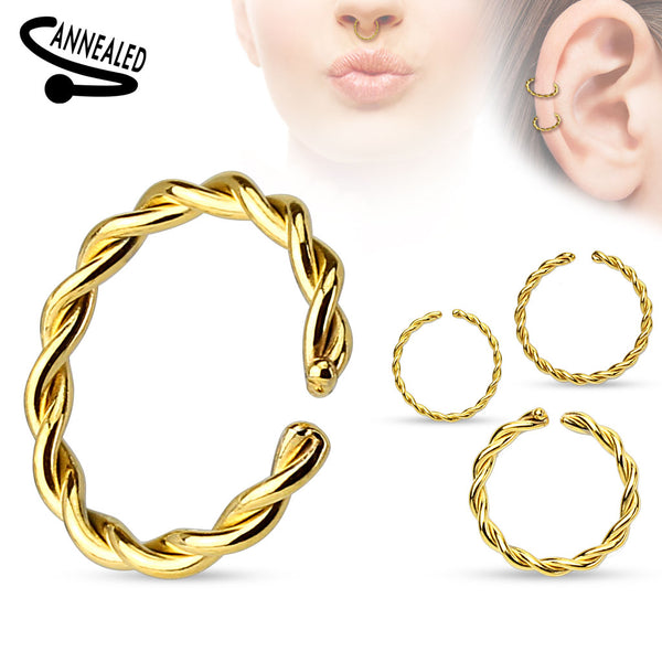 Gold Plated Braided Bendable Nose / Ear / Lip Ring