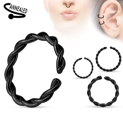 Black Braided Bendable Nose / Ear / Lip Ring