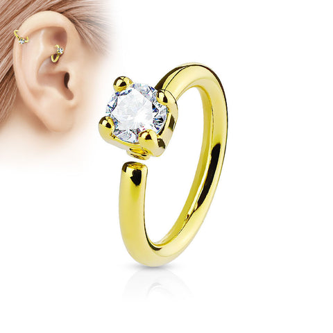 Gold Annealed Hoop Ring, Prong Crystal Nose / Ear Piercing Ring