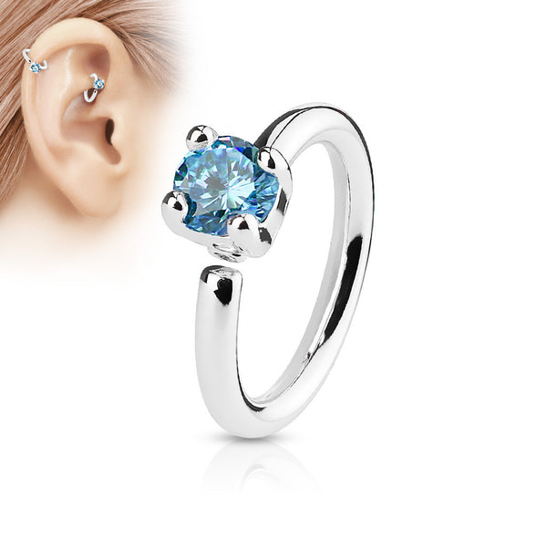 Silver Annealed Hoop Ring, Blue Crystal Nose / Ear Piercing Ring