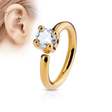 Rose Gold Annealed Hoop Ring, Prong Crystal Nose / Ear Piercing Ring