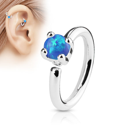 Blue Opal Bendable Hoop Ring, Silver Cartilage / Tragus / Daith Ring