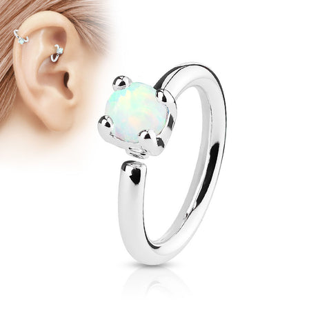White Opal Bendable Hoop Ring, Silver Cartilage / Tragus / Daith Ring