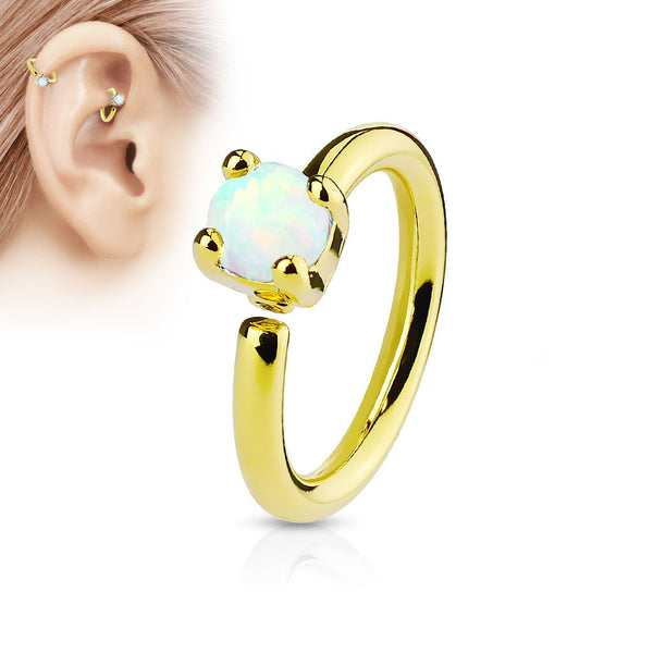 White Opal Bendable Hoop Ring, Gold Cartilage / Tragus / Daith Ring