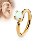 White Opal Bendable Hoop Ring, Rose Gold Cartilage / Tragus / Daith Ring
