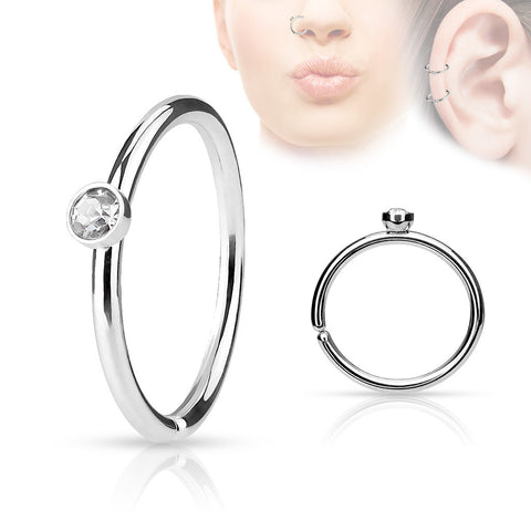 Clear Crystal Annealed Hoop Piercing, 20 Gauge Nose / Cartilage Piercing Rings