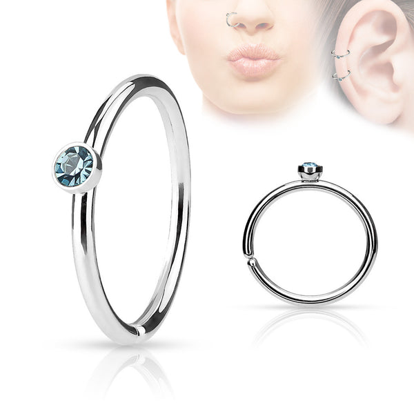 Blue Crystal Annealed Hoop Piercing, 20 Gauge Nose / Cartilage Piercing Rings