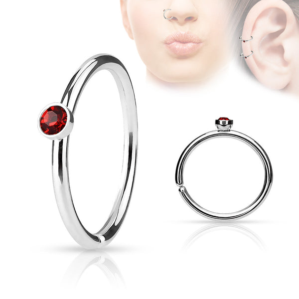 Red Crystal Annealed Hoop Piercing, 20 Gauge Nose / Cartilage Piercing Rings