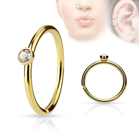 Gold Annealed Hoop Piercing, 20 Gauge Nose / Cartilage Piercing Rings