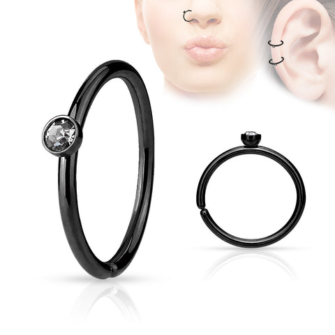Black Annealed Hoop Piercing, 20 Gauge Nose / Cartilage Piercing Rings