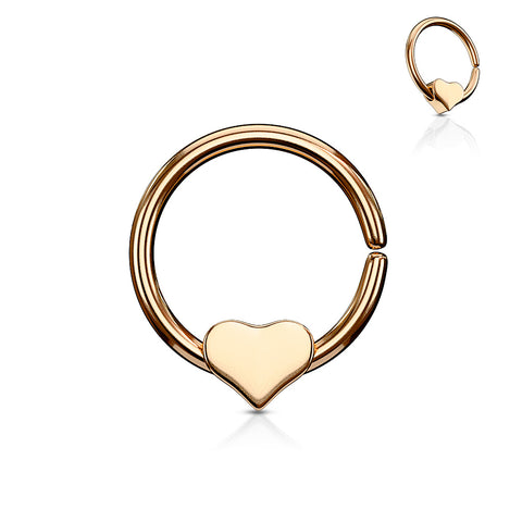 Rose Gold Annealed Bendable Cut Ring with Removable Steel Heart, Cartilage / Tragus / Helix Hoop