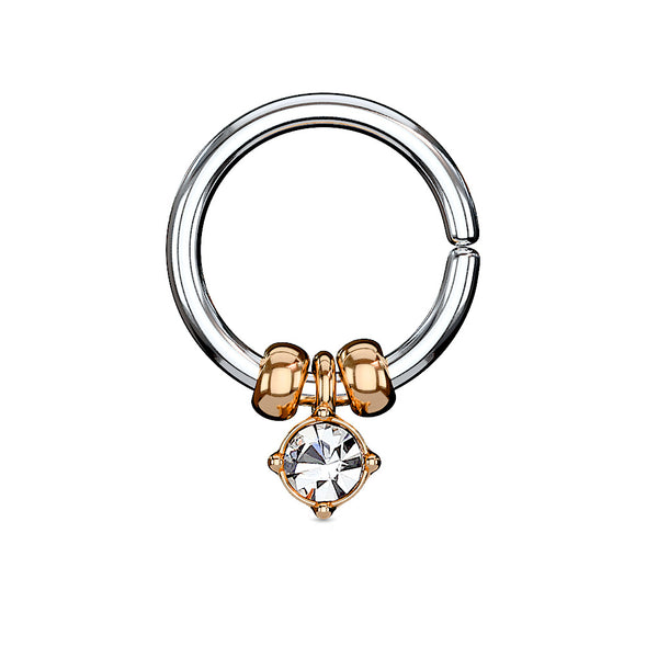 Annealed Bendable Cut Ring with Removable Prong Set Crystal and Steel Beads, Cartilage / Tragus / Helix Hoop