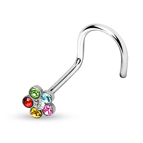 Rainbow Flower Nose Screw Ring, 20 Gauge Crystal Nose Stud