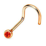 Rose Gold Nose Screw Ring, Red Crystal Nose Stud