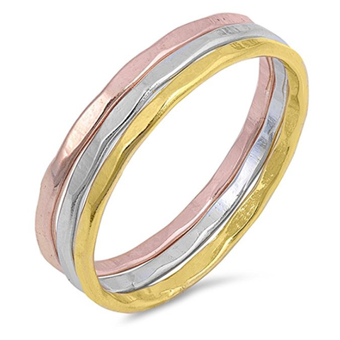 Hammered Stackable Slim Ring, Silver / Gold / Rose Gold Ring