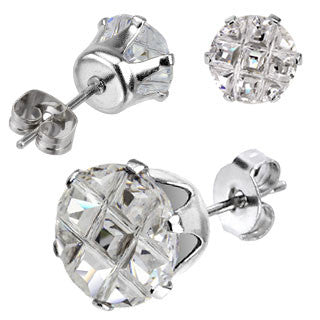 Multi Faceted Round Grid Gem Earring
