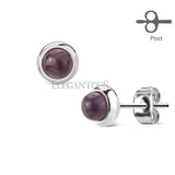 Amethyst Stone Centered Stud Earring