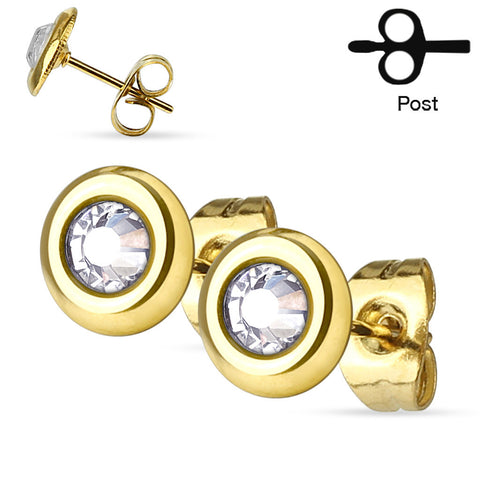 Gold CZ Centered Disc Ear Stud