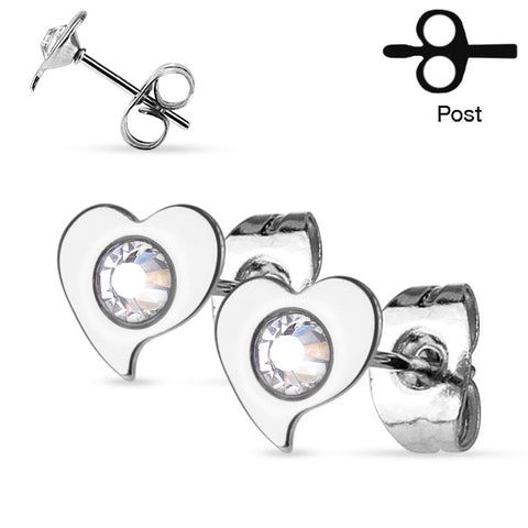 Silver CZ Centered Heart Stud Earrings