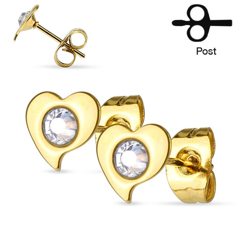 CZ Centered Heart Stud Earrings
