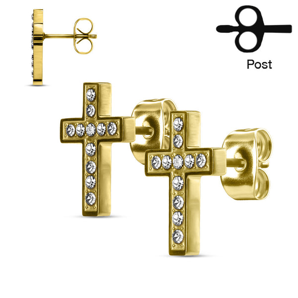 CZ Paved Cross Stud Earrings