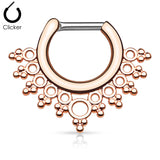 Rose Gold Entice Filigree Septum / Daith Clicker Ring
