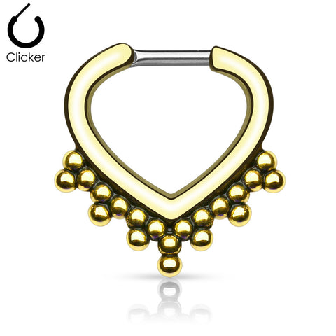 Gold Plated Beaded Septum / Daith Clicker Piercing Ring