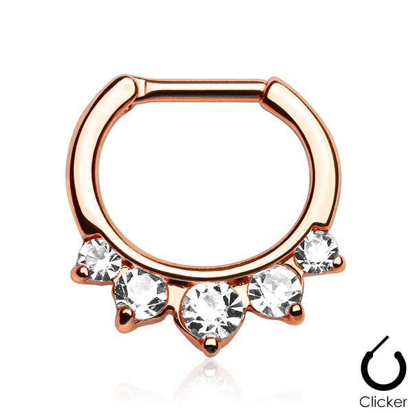 Rose Gold Five Pronged Crystal Septum / Daith Clicker Ring