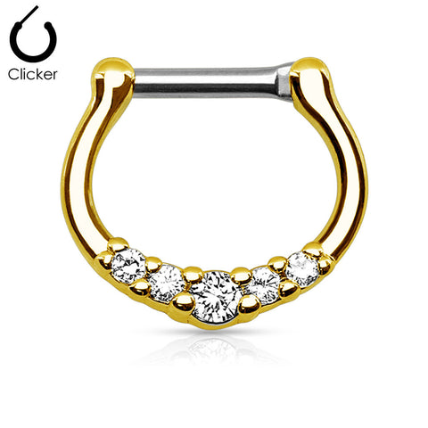 Five Crystals Centered Septum Ring, Gold Clicker Septum Ring