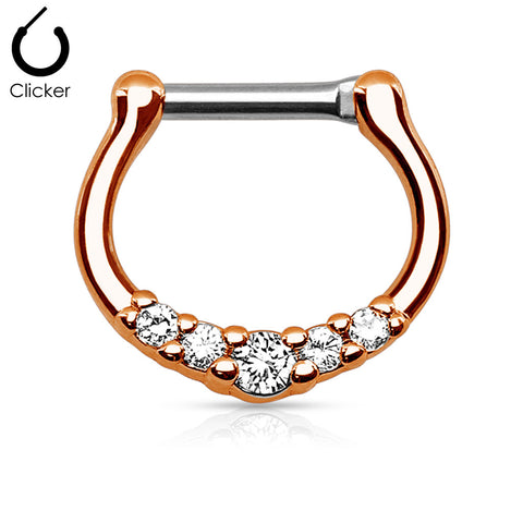 Rose Gold Five Crystals Septum / Daith Clicker Ring