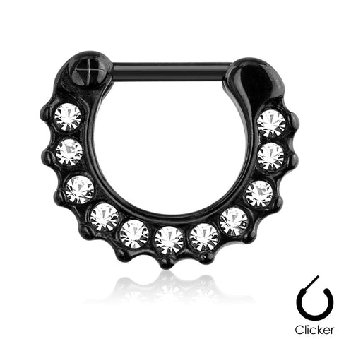 Crystal Paved Septum Ring, Black Clicker Septum Ring
