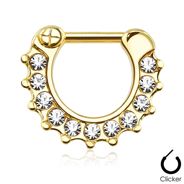 Gold Clicker Septum Ring, Crystal Paved Septum Ring