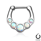 Five White Opal Septum / Daith Clicker Ring