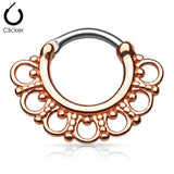 Rose Gold Tribal Fan Septum, Daith Clicker Ring