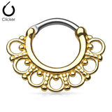 Gold Tribal Fan Septum Clicker Ring, Gold Daith / Cartilage Ring