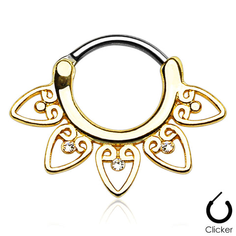 Gold Tribal Heart Septum / Daith / Cartilage Clicker Ring