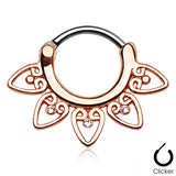 Rose Gold Tribal Heart Septum / Daith / Cartilage Clicker Ring