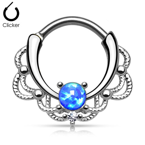 Fire Blue Opal Lacey Septum / Daith Clicker Ring