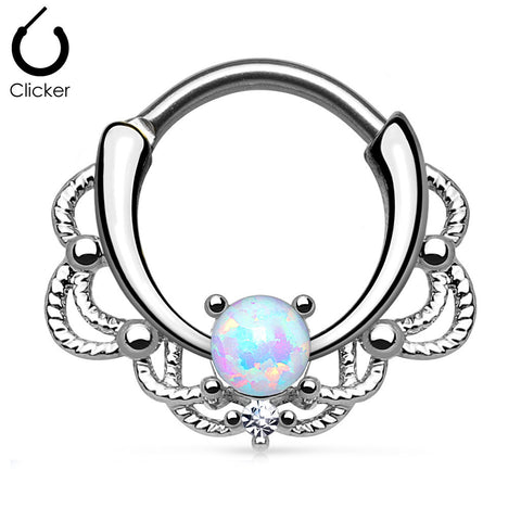 Silver Lacey Opal Nose Ring, White Opal Septum Clicker Ring