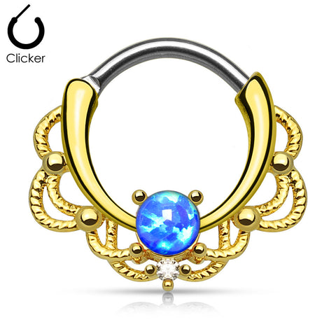 Gold Lacey Opal Septum Clicker Ring, Blue Opal Nose Ring