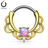 Gold Lacey Opal Septum Clicker Ring, Purple Opal Nose Ring