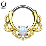 Gold Lacey Opal Nose Ring, Septum Clicker Ring
