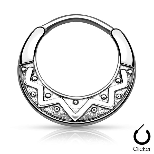 Silver Tribal Fan Design Round Septum / Daith Clicker Ring