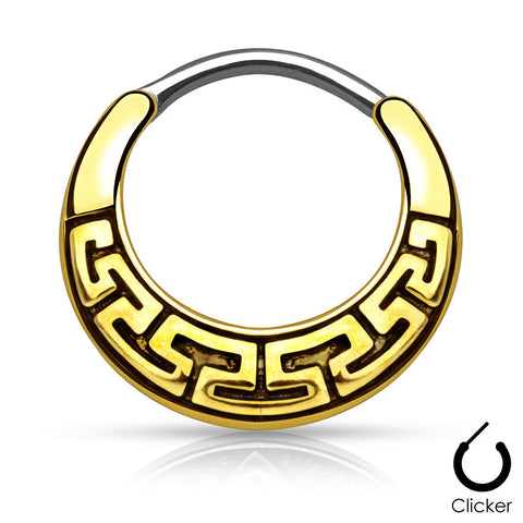 Gold Maze Tribal Fan Design Round Septum / Daith / Cartilage Clicker Ring
