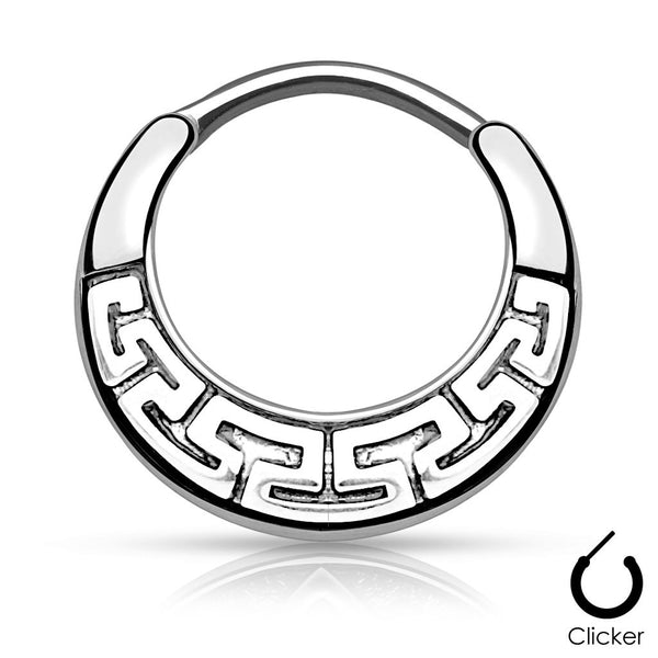 Silver Maze Tribal Fan Design Round Daith / Cartilage Ring