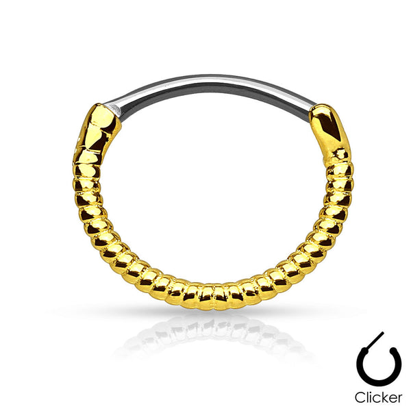 Gold Twisted Roped Line Septum Piercing