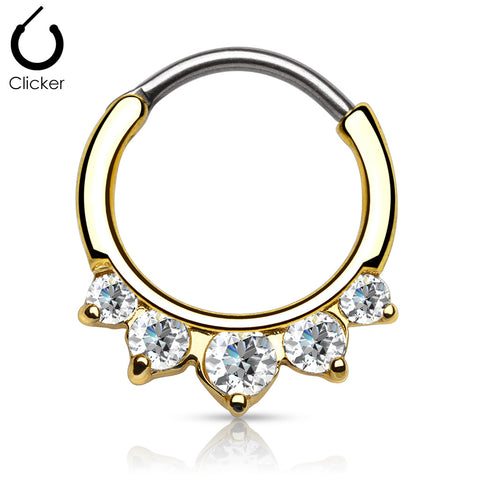Gold Five Pronged Clicker Septum / Daith Piercing Ring